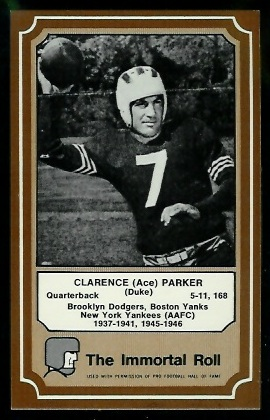 Ace Parker 1975 Fleer Immortal Roll football card