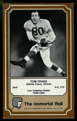 Tom Fears 1975 Fleer Immortal Roll football card