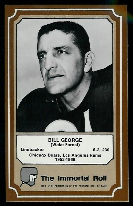 Bill George 1975 Fleer Immortal Roll football card