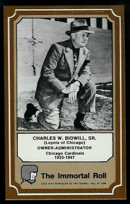 Charles Bidwill 1975 Fleer Immortal Roll football card