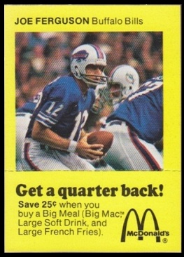 Joe Ferguson 1975 McDonald's Quarterbacks football card