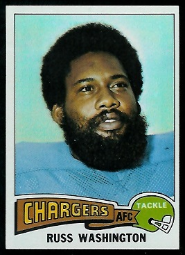 Russ Washington 1975 Topps football card