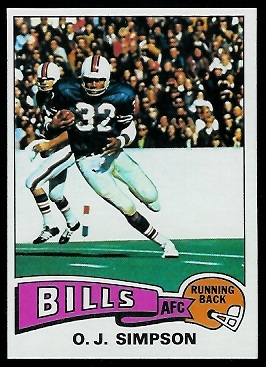 O.J. Simpson 1975 Topps football card