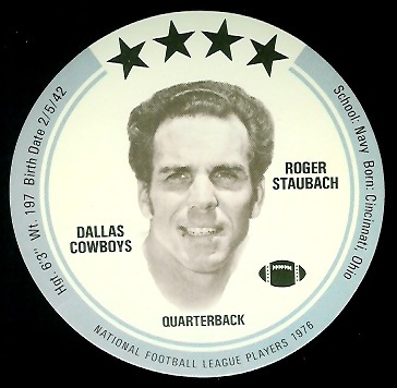 Roger Staubach 1976 Buckmans Discs football card