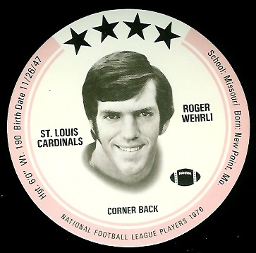 Roger Wehrli 1976 Buckmans Discs football card