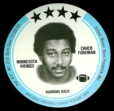 Chuck Foreman 1976 Buckmans Discs football card