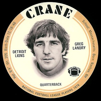 Greg Landry 1976 Crane Discs football card