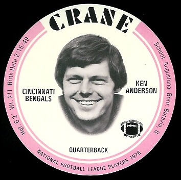 Ken Anderson 1976 Crane Discs football card