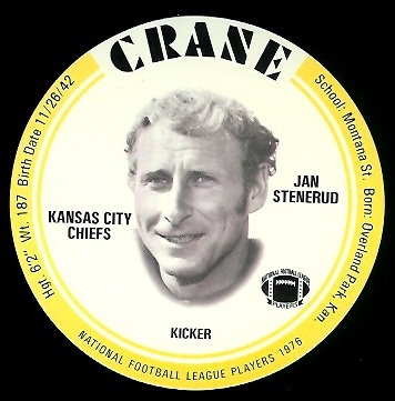 Jan Stenerud 1976 Crane Discs football card
