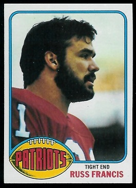 Russ Francis 1976 Topps rookie football card