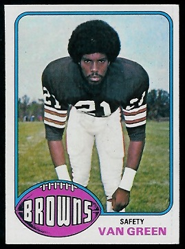 Van Green 1976 Topps football card