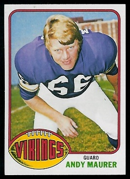 Andy Maurer 1976 Topps football card