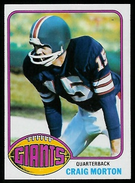 Craig Morton 1976 Topps football card