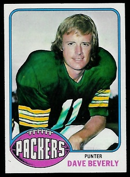 David Beverly 1976 Topps football card