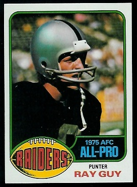 Ray Guy 1976 Topps football card
