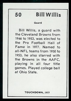 Back of Bill Willis 1977 Touchdown Club football card