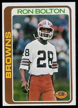 Ron Bolton 1978 Topps football card