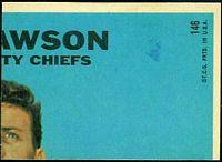 back of 1968 Topps Ode Burrell football card