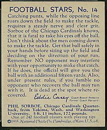 Back of 1935 National Chicle Phil Sarboe football card