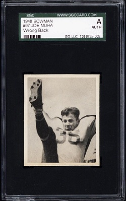 Joe Muha 1948 Bowman wrong back football card