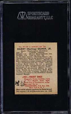 Back of Joe Muha 1948 Bowman wrong back football card