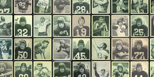 Virtual uncut sheet of 1948 Bowman football cards