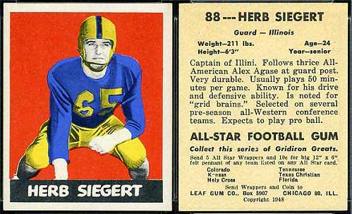1948 Leaf Herb Siegert football card