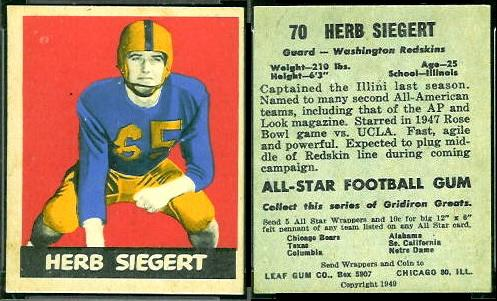 1949 Leaf Herb Siegert football card