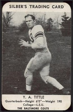 1949 Silber's Bakery Colts Y.A. Tittle pre-rookie football card