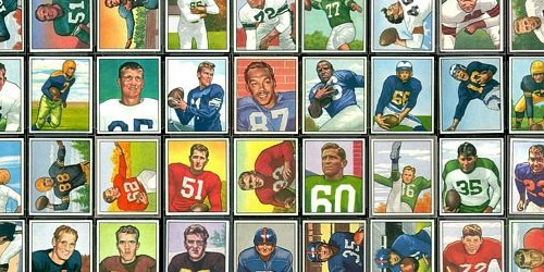 Virtual uncut sheet of 1950 Bowman football cards