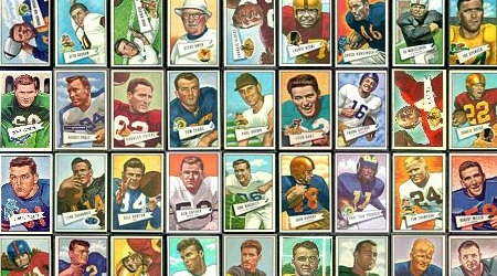 Virtual uncut sheet of 1952 Bowman Large football cards