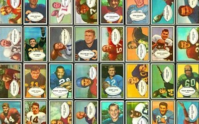 Virtual uncut sheet of 1953 Bowman football cards