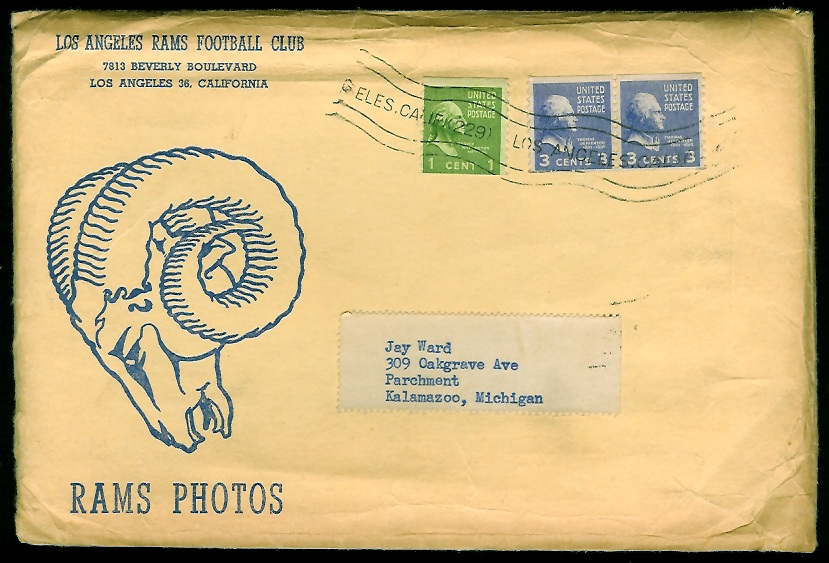 1953 Rams Team Issue football card envelope