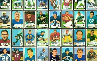 Virtual uncut sheet of 1954 Bowman football cards