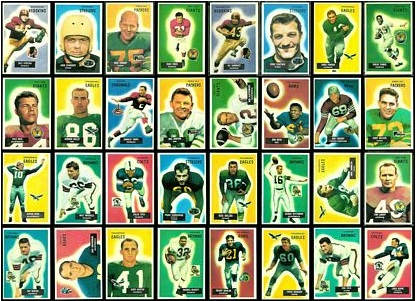 Virtual uncut sheet of 1955 Bowman football cards