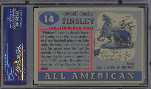 Back of 1955 Topps All-American Gaynell Tinsley error card