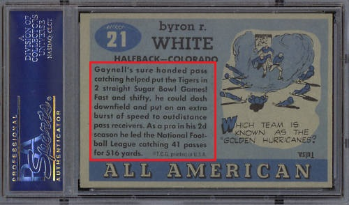 Back of 1955 Topps All-American Whizzer White rookie football card
