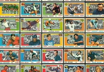 Virtual partial uncut sheet of 1955 Topps All-American football cards