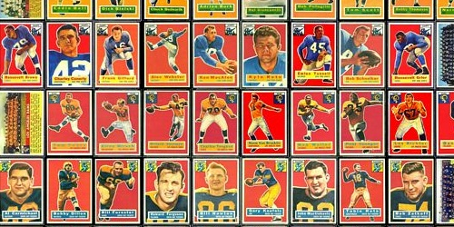 virtual uncut sheet of 1956 Topps football cards
