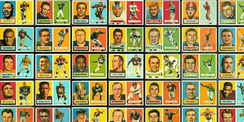 Virtual uncut sheet of 1957 Topps football cards