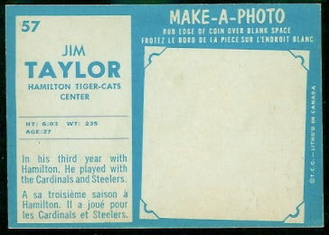 1961 Topps CFL Jim Taylor football card back