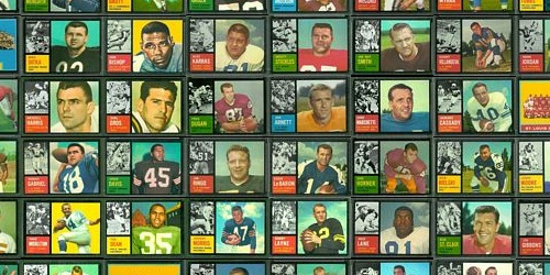Section of virtual uncut sheet of 1962 Topps football cards