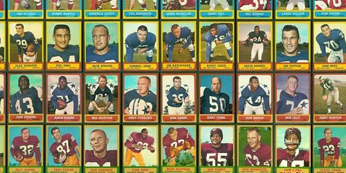 Virtual uncut sheet of 1963 Topps football cards