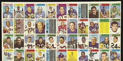 Uncut sheet of 1966 Philadelphia football cards