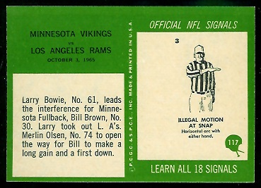 1966 Philadelphia Vikings Play football card back