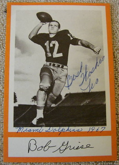 1967 Royal Castle Dolphins Bob Griese pre-rookie football card