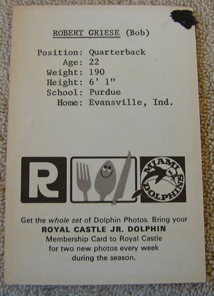 Back of 1967 Royal Castle Dolphins Bob Griese pre-rookie football card