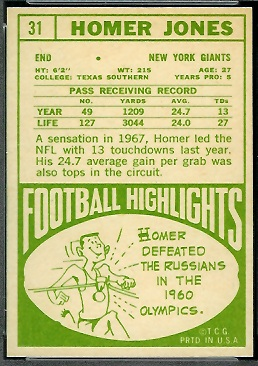 1968 Topps Homer Jones football card back