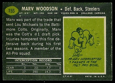 Back of Marv Woodson 1969 Topps football card