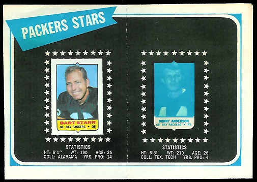 Inside of Green Bay Packers 1969 Topps mini-card album
